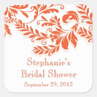 Modern Leaf Damask Bridal Shower Postage Stamp Square Stickers