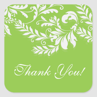 Modern Leaf Damask Thank You Postage Stamp Square Sticker