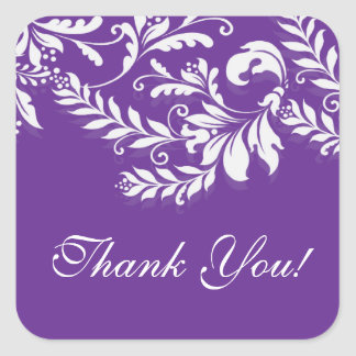 Modern Leaf Damask Thank You Postage Stamp Square Stickers