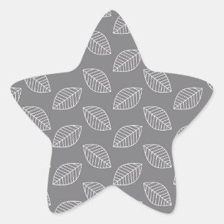 Modern Leaf in Gray Star Sticker