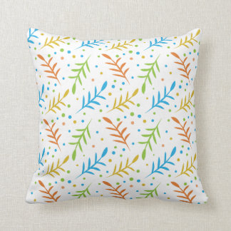 Modern Leaves And Dots Pattern on White Cushion