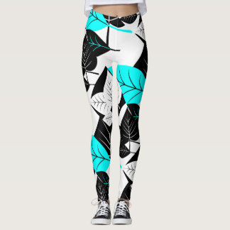 Modern Leaves, Black, White & Aqua on White Leggings
