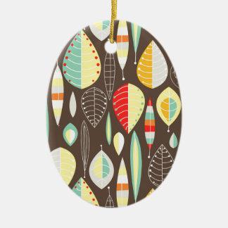 Modern Leaves Ceramic Oval Decoration