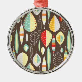 Modern Leaves Silver-Colored Round Decoration