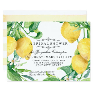 Modern Lemon Floral Flower Blossom Bridal Shower Card