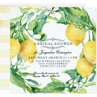 Modern Lemon Floral Flower Wreath Bridal Shower Card