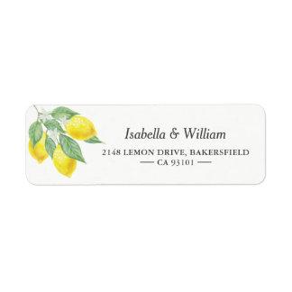 Modern Lemon Summer Wedding Address Return Address Label