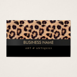Modern Leopard Print Art & Antique Dealer Business Card