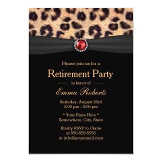 Modern Leopard Print & Ruby Gems Retirement Party Card