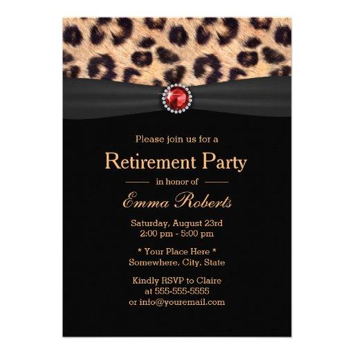 Modern Leopard Print & Ruby Gems Retirement Party Custom Invite