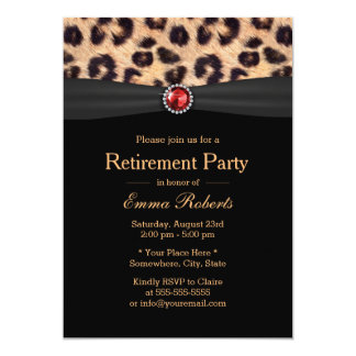 Modern Leopard Print & Ruby Gems Retirement Party 5x7 Paper Invitation Card