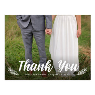 Modern Letter Laurel Wedding Thank You Postcard