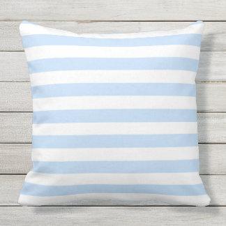 Modern light blue and white stripes pattern throw pillow