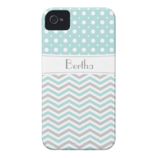 Modern light blue, grey, white chevron & polka dot iPhone 4 cover