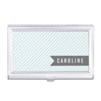 Modern Light Blue Pinstripes Personalized Business Card Holder