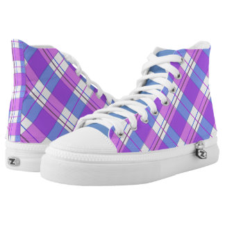 Modern light blue purple color check pattern shoes printed shoes