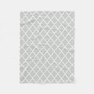 Modern Light Gray and White Moroccan Quatrefoil Fleece Blanket