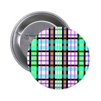 Modern light green blue and pink plaid button