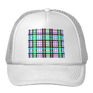 Modern light green blue and pink plaid mesh hat