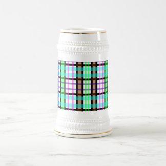 Modern light green blue and pink plaid mug