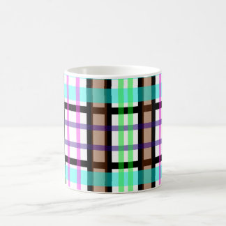 Modern light green blue and pink plaid coffee mug