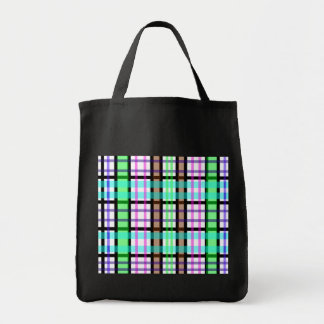 Modern light green blue and pink plaid tote bag