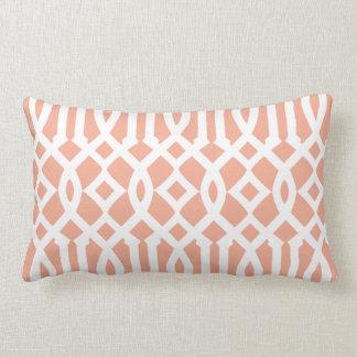 Modern Light Orange and White Imperial Trellis Lumbar Cushion