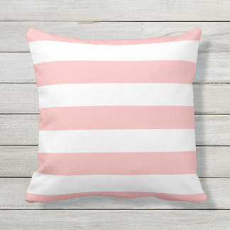 Modern Light Pink and White Stripes Outdoor Cushion