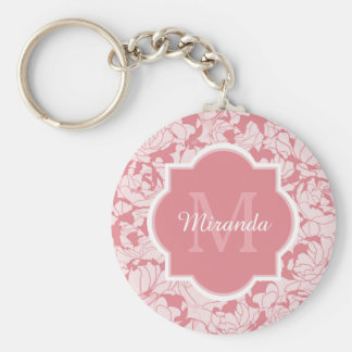 Modern Light Pink Floral Girly Monogram With Name Basic Round Button Key Ring