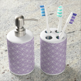 Modern Light Purple White Circle Diamond Pattern Soap Dispenser And Toothbrush Holder