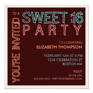 Modern Lights Sweet 16 Birthday Party Invitation