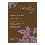 Modern Lilac/Brown Floral Wedding Invitation