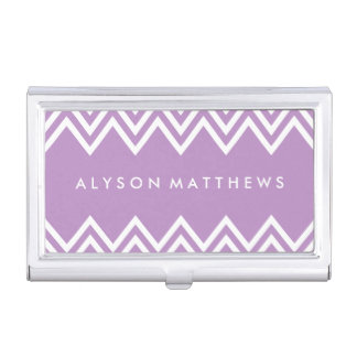 Modern Lilac Purple and White Chevron Business Card Holder