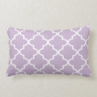 Modern Lilac Purple and White Moroccan Quatrefoil Lumbar Cushion