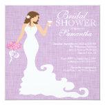 Modern Lilac Purple Bride Wine Bridal Shower Personalized Invite