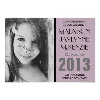Modern Lilac Purple Photo Graduation Party 13 Cm X 18 Cm Invitation Card