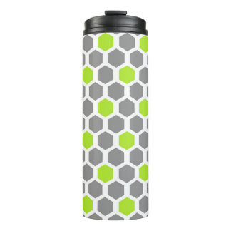 Modern Lime and Grey Hexagon Geometric Pattern Thermal Tumbler