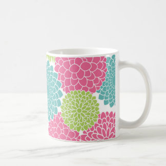 Modern Lime Green and Hot Pink Flowers Coffee Mug