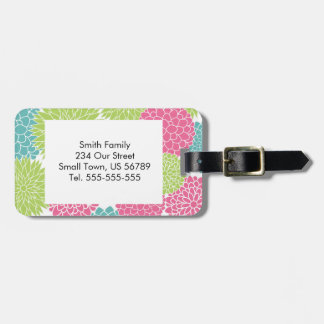 Modern Lime Green and Hot Pink Flowers Luggage Tag