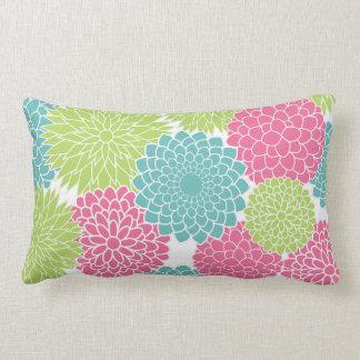 Modern Lime Green and Hot Pink Flowers Lumbar Cushion