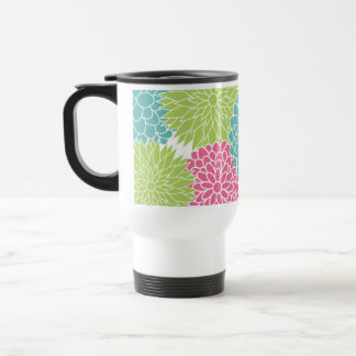 Modern Lime Green and Hot Pink Flowers Mug