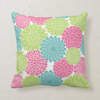 Modern Lime Green and Hot Pink Flowers Throw Cushion