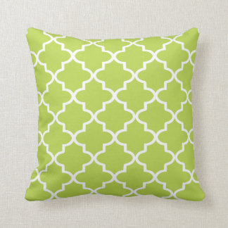 Modern Lime Green and White Moroccan Quatrefoil Cushion