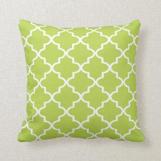 Modern Lime Green and White Moroccan Quatrefoil Throw Cushion