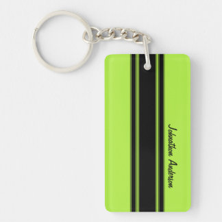 Modern Lime Green Racing Stripes With Name Double-Sided Rectangular Acrylic Key Ring