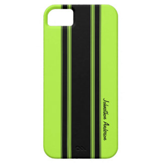 Modern Lime Green Racing Stripes With Name iPhone 5 Cases