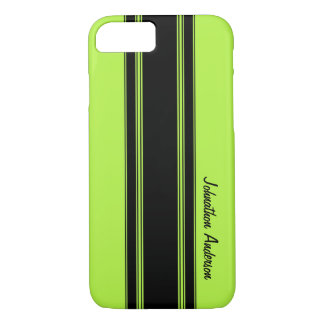 Modern Lime Green Racing Stripes With Name iPhone 8/7 Case