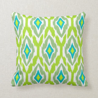 Modern lime green teal Ikat Tribal Pattern 1a Cushion