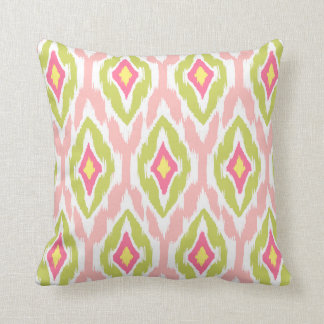 Modern lime pink fuchsia Ikat Tribal Pattern 1a Cushion