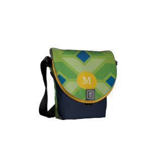 Modern Lime Royal Blue Retro Geometric Pattern Courier Bag